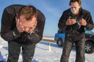 Растирание снегом